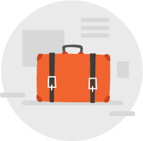 graphic of an orange suitcase