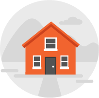 graphic of an orange home